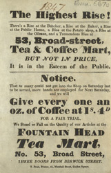 Advert for the Tea & Coffee Mart